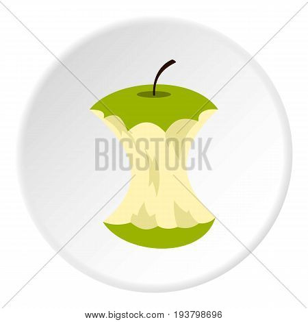Apple core icon in flat circle isolated vector illustration for web