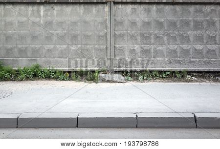 Old Gray Concrete Fence Background Texture