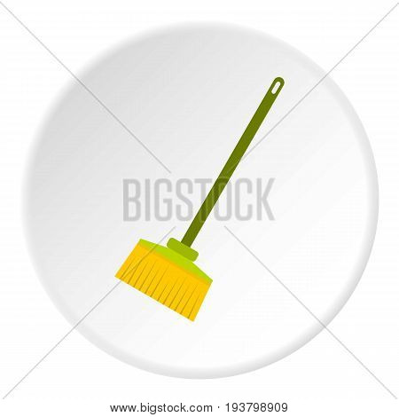 Broom icon in flat circle isolated vector illustration for web