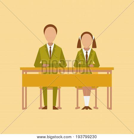 flat icon on stylish background school pupils at school desk