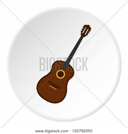 Charango, music instrument icon in flat circle isolated vector illustration for web