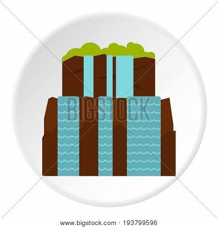 Iguassu Falls icon in flat circle isolated vector illustration for web
