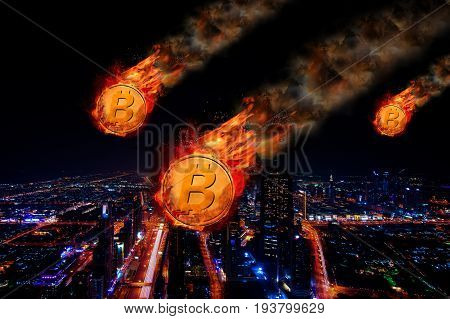 Concept of Bitcoin Price falling, Digital money