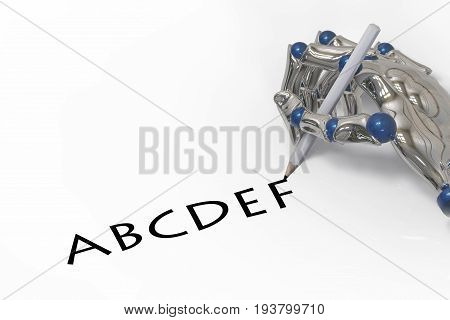 3d rendering. the hand of artificial intelligence ai writing A B C D E F words by pencil. robot learning humen thinking concept.