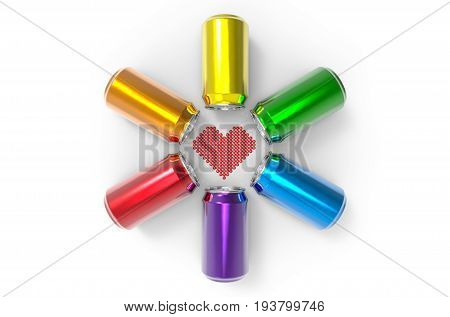 3d illustration. heart shape surrounded by colorful can group on white background. LGBTQ or LGBT color concept