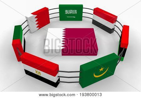 3d rendering. qatar country flag on the floor which surround by some middle east country flags. Qatar diplomatic crisis concept