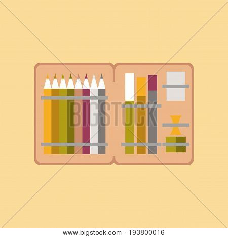 flat icon on stylish background education pencil box pencil pen