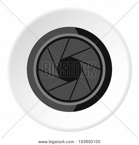Photographic objective icon in flat circle isolated vector illustration for web