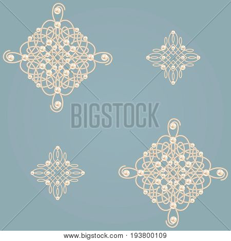 Elegant golden knot signs. Blue and beige pastel seamless pattern beautyful calligraphic flourish with pearls. Vector illustration.