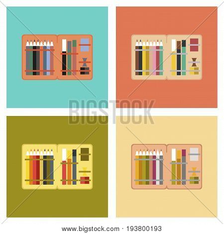 assembly of flat icons education pencil box pencil pen