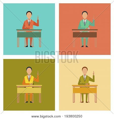 assembly of flat icons school pupil at school desk