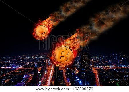 Concept of Bitcoin and Ethereum Price falling