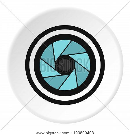 Round objective icon in flat circle isolated vector illustration for web