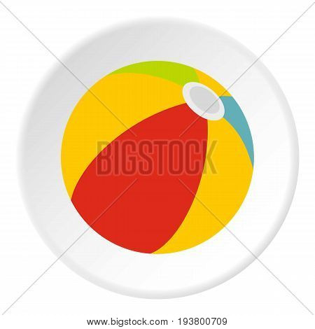 Beach ball icon in flat circle isolated vector illustration for web
