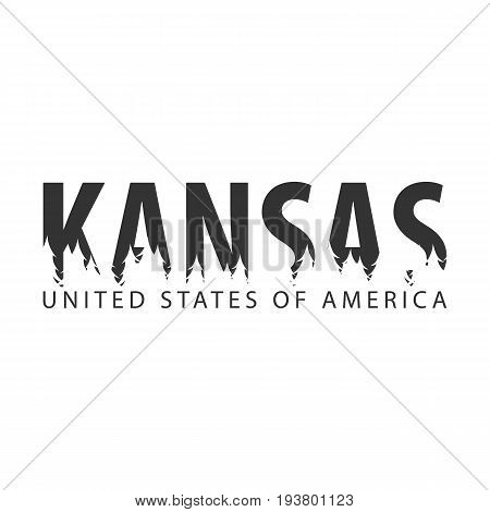Kansas. Usa. United States Of America. Text Or Labels With Silhouette Of Forest.