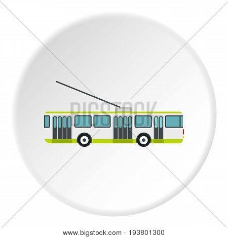 Trolley bus icon in flat circle isolated vector illustration for web