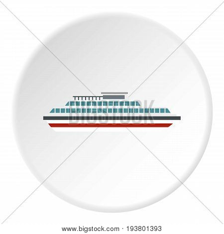 Steamship icon in flat circle isolated vector illustration for web
