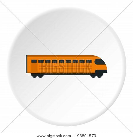 Train icon in flat circle isolated vector illustration for web