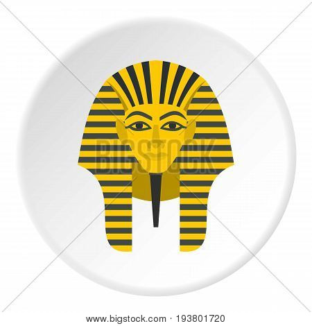 Egyptian golden pharaohs mask icon in flat circle isolated vector illustration for web
