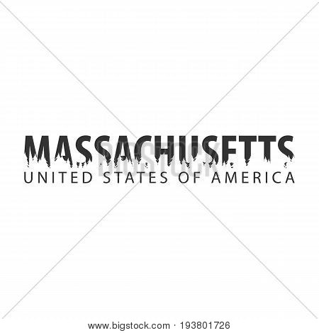 Massachusetts. Usa. United States Of America. Text Or Labels With Silhouette Of Forest.