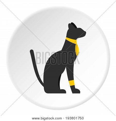 Black sitting Egyptian cat icon in flat circle isolated vector illustration for web