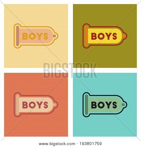 assembly of flat icons gays condom contraceptive