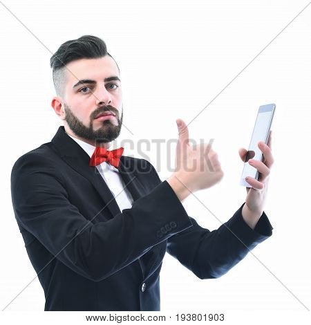 Broker Or Businessman With Beard And Serious Face Expression