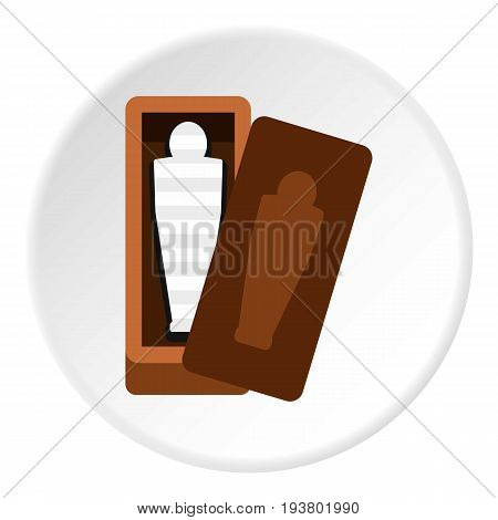 Sarcophagus of an Egyptian mummy icon in flat circle isolated vector illustration for web