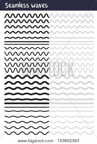 Vector Big Set Of Seamless Wavy - Curvy And Zigzag - Criss Cross Horizontal Lines. Collection Of Dif