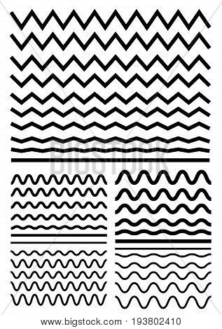 Vector Big Set Of Seamless Wavy - Curvy And Zigzag - Criss Cross Horizontal Lines. Graphic Design El