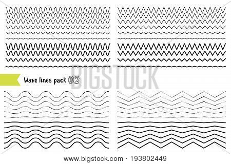 Vector Collection Of Different Wave With A Very Strong Vibration Amplitude. Graphic Design Elements