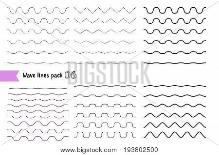 Vector Big Set Of Wavy - Curvy And Zigzag - Criss Cross Horizontal Lines With Different Bend. Graphi