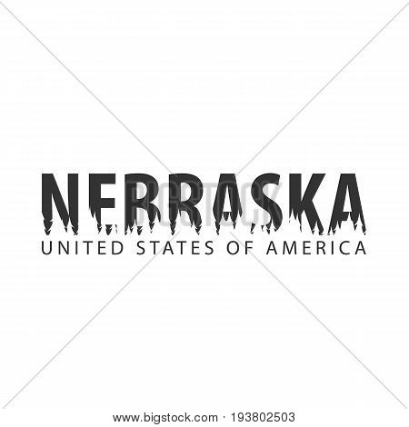 Nebraska. Usa. United States Of America. Text Or Labels With Silhouette Of Forest.