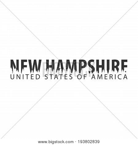 New Hampshire. Usa. United States Of America. Text Or Labels With Silhouette Of Forest.
