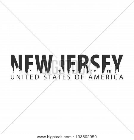 New Jersey. Usa. United States Of America. Text Or Labels With Silhouette Of Forest.
