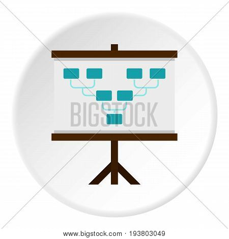 Board with team formation icon in flat circle isolated vector illustration for web