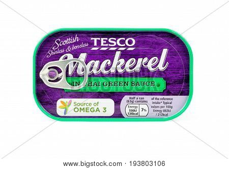 WREXHAM UK - MARCH 31 2017: Ring pull can of Tesco Scottish skinless and boneless Mackerel in Thai green sauce. A source of omega 3. On a white background.