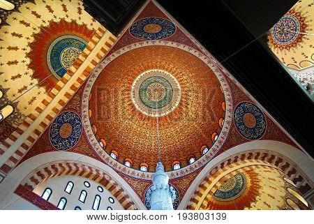Interior view to mosaic ceiling of Mohammad Al-Amin Mosque 05-05-2012 Beirut Lebanon