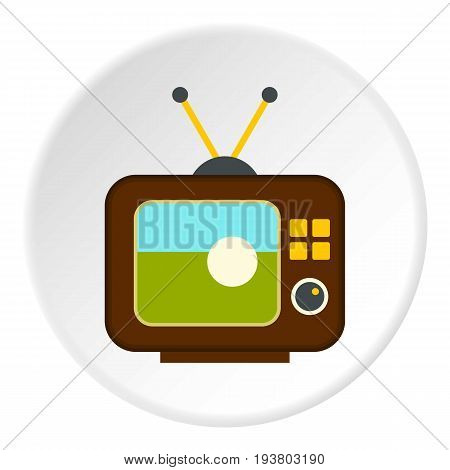 Ball on the screen of retro TV icon in flat circle isolated vector illustration for web