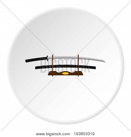 Katana on wooden stand icon in flat circle isolated vector illustration for web