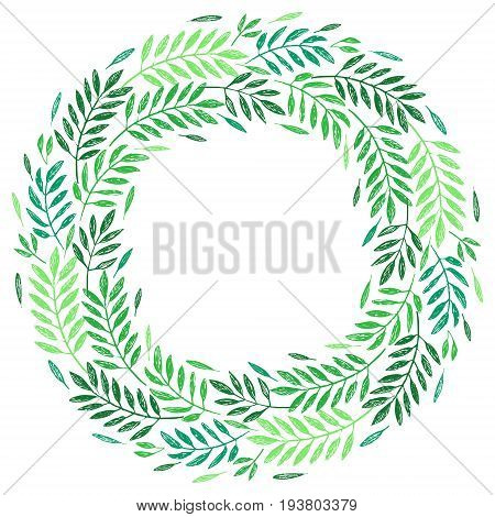 Tropical palm leaves foliage wreath round frame. Vector illustration. Tropical jungle palm tree background. Invitation template greeting card template.