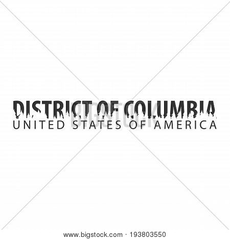 District Of Columbia. Usa. United States Of America. Text Or Labels With Silhouette Of Forest.