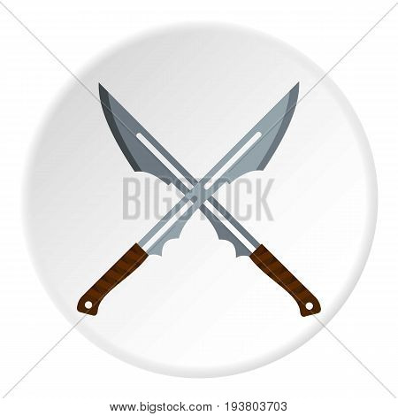 Japanese short swords icon in flat circle isolated vector illustration for web