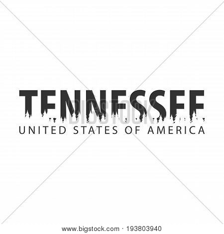 Tennessee. Usa. United States Of America. Text Or Labels With Silhouette Of Forest.