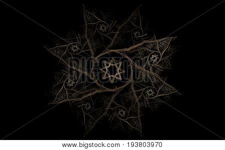 Abstract illustration of a star symbol with eight rays a round center with a star in the center on a black background