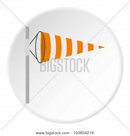 Wind direction indicator icon in flat circle isolated vector illustration for web