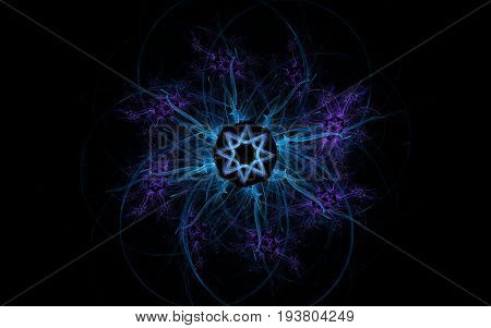 Abstract emblem in the shape of a blue star with shaggy rays with a star in the center on a black background