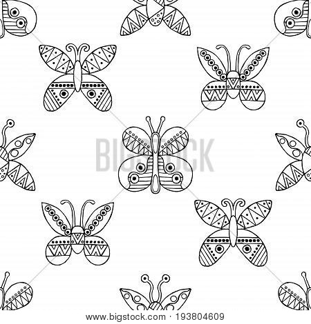 Vector Hand Drawn Seamless Pattern, Decorative Stylized Black And White Childish Butterflies. Doodle