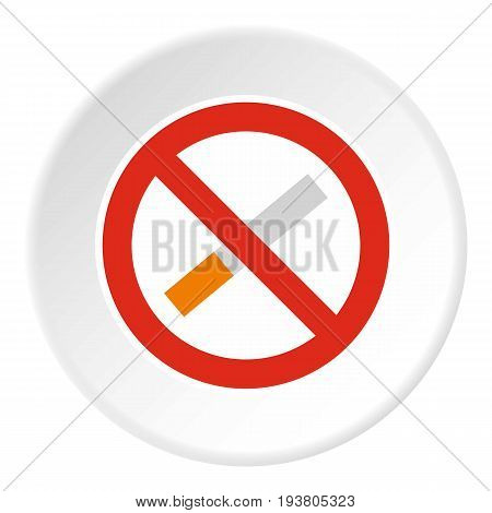 No smoking icon in flat circle isolated vector illustration for web