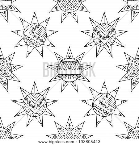 Vector Hand Drawn Seamless Pattern, Decorative Stylized Black And White Childish Sun. Doodle Sketch
